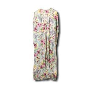 La Perla Green Floral Floor Length Robe L